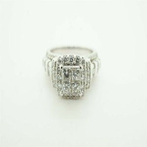 White Gold Women's Cluster Square Engagement